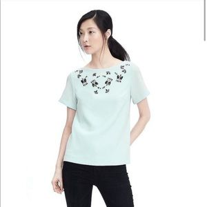 BANANA REPUBLIC pale blue embellished top low back